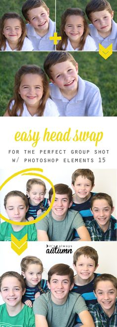 This is awesome! How to swap heads so you can get a great group photo. Perfect for when people close their eyes or kids aren't all looking at the camera at the same time. And it only takes 30 seconds! Baby Photography Tips, Photography Lessons, Photoshop Photography, Book Photography, Photography Tutorials, Digital Photography, Photography Business, Photoshop Elements 15, Photoshop Help