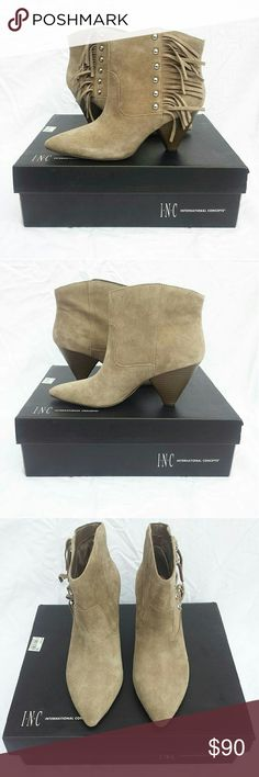 """NWT   INC Pallavi Fringe Booties Brand new with tags and box! Purchased at Macy's Size 7.5  Leather upper Pointed, closed-toe booties 3"""" stacked heel Manmade sole Taupe color  SOLD OUT EVERYWHERE!  Make an offer!!! INC International Concepts Shoes Ankle Boots & Booties"""