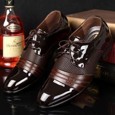 Mens-Business-casual-Pantent-Leather-Shoes-Pointed-Toe-Bridegroom-wedding-Shoes