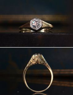 you just don't find hand-detailed metalwork like this any Deco Engagement Ring, Antique Engagement Rings, Antique Rings, Vintage Rings, Antique Jewelry, Vintage Jewelry, Art Nouveau, 1920s Art Deco, Sell Gold