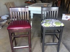 Before and after bar stools spray paint and fabric so easy