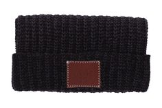 Smoke Leather Patched Cuffed Beanie