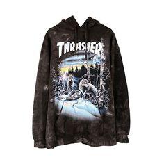 THRASHER 13 WOLVES HOODIE / BLACK TIE-DYE ($120) ❤ liked on Polyvore featuring tops, hoodies, sweatshirt hoodies, hoodie top, cotton hoodie, tye dye hoodie and tye dye tops