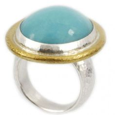 Sterling Silver layered with 24K Gold Ring featuring a Turquoise Cabochon by GURHAN