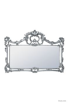 Aceline Wooden Hand Carved Overmantle Silver Mirror : For sale at www.DUSX.com