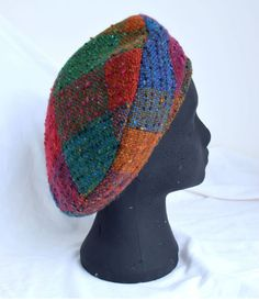 Beret Bright in handwoven tweed by Studio Donegal. Donegal, Beret, Riding Helmets, Tweed, Hand Weaving, Beanie, Hats, Bright, Accessories