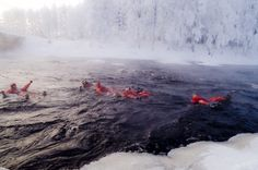 Rafting Winter ... holy cannoli these Finns are some tough cookies !