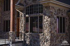 Beautiful custom home featuring our @gsharrisco Granite (Color: Summit)  ----- www.KodiakMountain.com  ----- #KodiakMountainStone  #HomeBuilder #NewConstruction #CustomHome #contractor  #GeneralContractor #DreamHome #Luxury #LuxuryHome #DesignBuild Stone Gallery, Manufactured Stone, Granite Colors, New Construction, Home Builders, Building Design, Custom Homes, Luxury Homes, Mountain