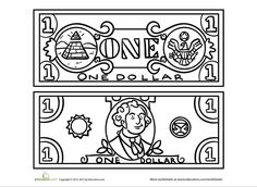 dollar bill coloring page for kids daisy scouts pinterest learning money preschool and math. Black Bedroom Furniture Sets. Home Design Ideas