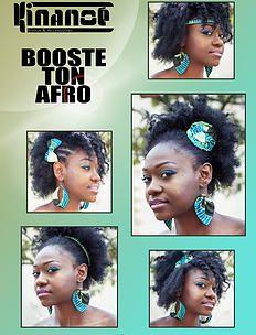 bykinanoe   Tutos et idées coiffure Boucles d'oreilles & Accessoires pour cheveux en wax : noeud, headband Créations Kinanoé Afro puff natural hair