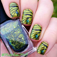 Butterfly inspired mani using ILNP Open Fields over OPI Who The Shrek Are You? // @MadHatterMH // nails // nailart //