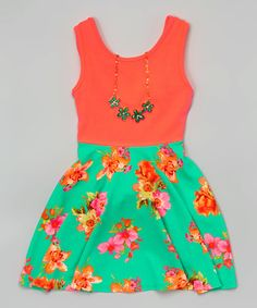 4bf539115e382 Another great find on  zulily! Coral Floral Skater Dress  amp  Necklace -  Girls. Floral Skater DressCute DressesLittle ...