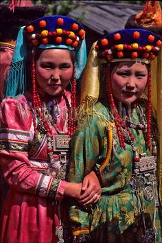Two women in traditional Buryat dress. Near Ulan Ude, Siberia, Russia | by Wolfgang Kaehler.