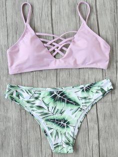 Pink Leaf Print Mix & Match Bikini Set