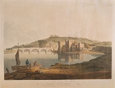 A view across the River Usk at Newport showing the ruin. Edward Pugh, late to early century Queensland Australia, Western Australia, Wales Language, Cities In Wales, Newport Gwent, Newport Wales, Grafik Art, South Wales, Tasmania