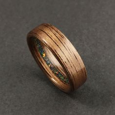 Wood Ring Cocobolo Ring Sterling Ring 5th Anniversary Gift Turquoise Stone BirdsEye Maple Wood Wedding Band Engraved Ring