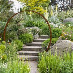 Contemporary garden idea - Lilly is Love Garden Entrance, Garden Gates, Herb Garden, Back Gardens, Outdoor Gardens, Unique Garden, Moon Gate, Garden Cottage, Contemporary Garden