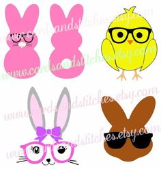 Easter Bunny Glasses Svg - Easter Chick Svg -  Digital Cutting File - Graphic Design - Instant Download - Svg, Dxf, Jpg, Eps, Png by cardsandstitches on Etsy
