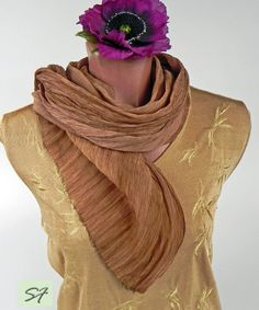 Silk Scarf, Brown Hand Painted Silk Scarf, Long Silk Scarf, Chiffon Silk Scarf, Ruffled Silk Scarf, Boho Scarf, Gift for Her,Women Scarves by SilkFantazi on Etsy