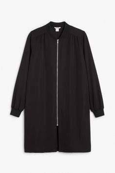 Monki Long lightweight jacket in Deep black