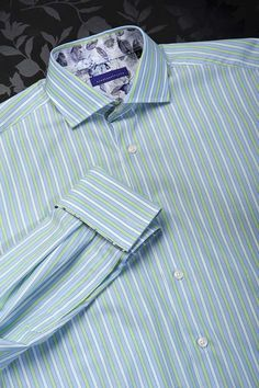 The Dowling - Beautiful Italian two fold cotton (A 2-fold yarn is made from 2 extra fine yarns twisted together for extra strength) It stripe in aqua and Italian blue will warm most complexions. This regular fit shirt is made in a classic Jermyn Street cu
