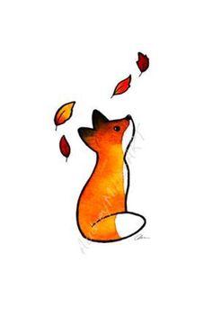The Fox and The Leaves Print - Der Fuchs und die Blätter 5 x 7 Print - Small Fox Tattoo, Small Tattoos, Small Animal Tattoos, Kleiner Fuchs Tattoo, Art Fox, Cute Tattoos, Fox Tattoos, Elephant Tattoos, Print Tattoos