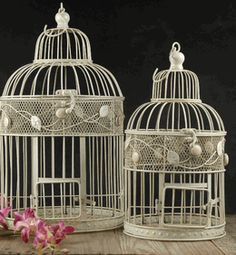 Birdcages Antique White  Round Bird Cages  (set of two) 17 & 15    $24.99