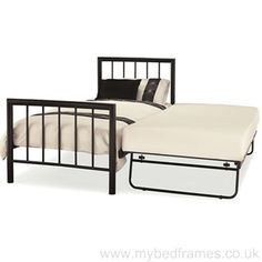 A contemporary robust metal bed frame available in a stunning black finish. Handy roll-away guest bed underneath which is level when raised.