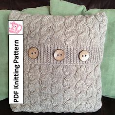 PDF KNITTING PATTERN Cascading Cable hand knit pillow cover by LadyshipDesigns, $4.95 Great Gift to knit Click on photo to buy pattern now!