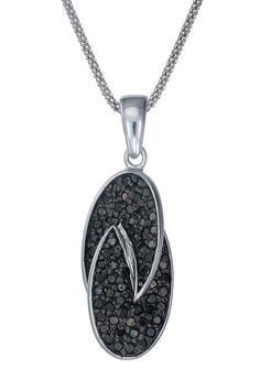 Vir Jewels 0.6Ct. Black Diamond Necklace In Sterling Silver