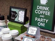 use green and brown to create labels for your coffee themed party decorations #HWTM #PreppyPlanner