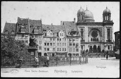 Date:	1910 - 1920  Locale:	Nuremberg, [Bavaria] Germany  Credit:	United States Holocaust Memorial Museum, courtesy of Bruce Tapper  Copyright:	United States Holocaust Memorial Museum    Picture postcard showing an exterior view of the synagogue in Nuremberg, Germany.