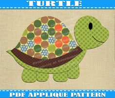 Turtle Applique Pattern Template  PDF Download Instant Fabric Shirt Design Print Brother Nursery Wall DIY Boy Mustache Baby Quilt Animal
