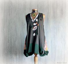 Long Tunic Dress Boho Chic Clothing V-Neck by BrokenGhostClothing