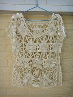 Boho Short Sleeve Crochet Floral Lace Blouse by TinaCrochet2016