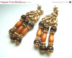 20 SALE Drop earrings handmade natural wood and gold by LeSirenes, €7.92