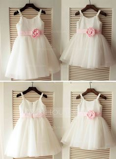 US  56.00  A-Line Princess Knee-length Flower Girl Dress - Tulle Sequined  Sleeveless Straps With Flower(s) - JJ s House d3c142813335