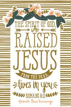 Romanos 8:11 Y si el Espíritu de aquel que levantó de los muertos a Jesús mora en vosotros, el que levantó de los muertos a Cristo Jesús vivificará también vuestros cuerpos mortales por su Espíritu que mora en vosotros. ♔