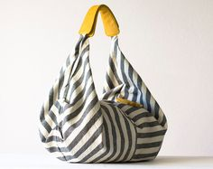 Kallia in Striped canvas and Yellow leather details