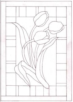 TULIPANES Stained Glass Patterns Free, Stained Glass Quilt, Stained Glass Flowers, Faux Stained Glass, Stained Glass Designs, Stained Glass Panels, Stained Glass Projects, Leaded Glass, Mosaic Patterns