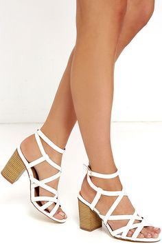 Round We Go White Caged Heels at Lulus.com!