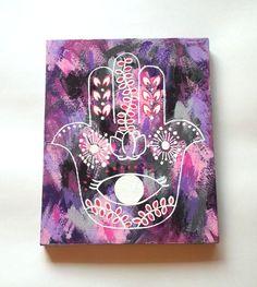 hamsa hand bohemian fashionable acrylic canvas by StarrJoy16