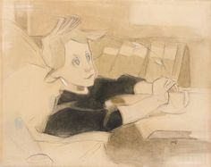 Helene Schjerfbeck - TOIPILAS (THE CONVALESCENT); Medium: gouache on paper