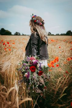 Bride In Leather Jacket | Flower Crown & Wild Flower Bouquet