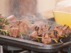 Get Marinated Beef Tenderloin Skewers with Mustard Horseradish Cream Recipe from Food Network