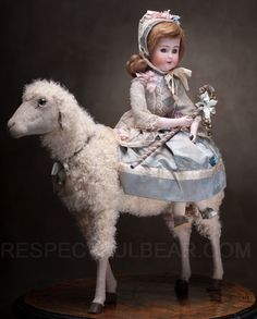 Rare antique 'Girl on a Sheep' automaton ... from Respectfulbear.com
