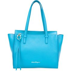 Salvatore Ferragamo medium Amy tote (1,330 CAD) ❤ liked on Polyvore featuring bags, handbags, tote bags, blue, tassel handbags, salvatore ferragamo tote, blue purse, blue totes and salvatore ferragamo purse