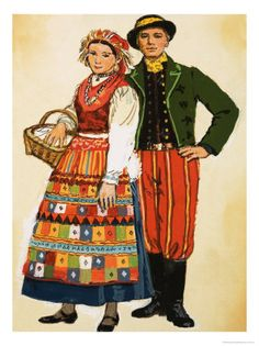 Really like the striped pants with boots for Baker. Her apron's patchwork would be a nice motif for both of them.  polish folk costume