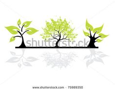 stock vector : set of abstract tree silhouettes, symbols of nature