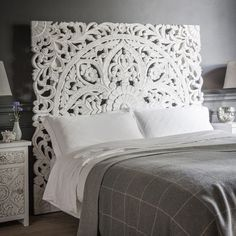 Large Wall Art King Size Bed Reclaimed Bohemian Headboard Decorative Flower Mandala Wooden Hand Crave Teak Wood Panel White Home Decor Thai Bohemian Headboard, Wood Headboard, King Headboard, White Headboard, Reclaimed Headboard, Bohemian Bedrooms, Bohemian Room, Headboard Ideas, Trendy Bedroom